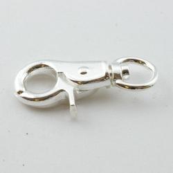 Metaal, musketonhaak, rond, zilver, 43 mm (3 st.)