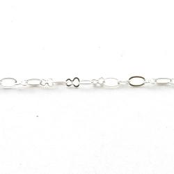 Jasseron, fantasie schakel, zilver, 4 mm (1 meter)