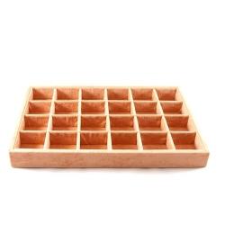 Vakjesdisplay, open, 24 vakjes, velours, peach (1 st.)