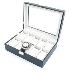 Displaydoos met klep voor armbanden/horloges, PU leer, zwart, lichtgrijze binnenkant (1 st.)