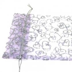 Organzazakjes, lila/zilver, 12 x 10 cm (5 st.)
