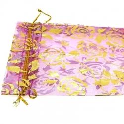 Organzazakjes, roze/goud, 12 x 10 cm (5 st.)