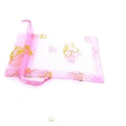 Organzazakjes, roze/goud, vlinder, 9 x 6 cm (5 st.)