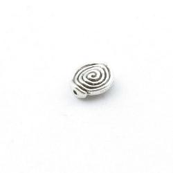 Metalen kraal, rond, zilver, spiraal, 12 mm (4 st.)