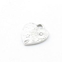 Metaal, bedel, hartje, bewerkt, zilver, 20 mm (5 st.)