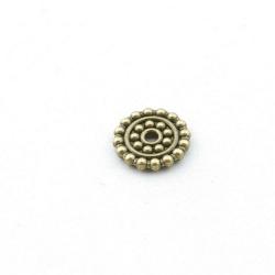 Metaal, schijfje, antique goud, 2 x 12 mm (5 st.)
