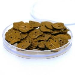 Lovertjes in rond doosje, schelp, twee rijggaatjes, brons, 12 mm (4 gram)