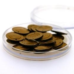 Lovertjes in rond doosje, rond, twee rijggaatjes, brons, 14 mm (3 gram)
