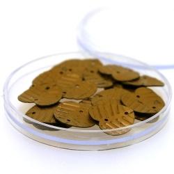 Lovertjes in rond doosje, hartje, twee rijggaatjes, brons, 14 mm (3 gram)