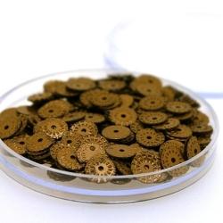 Lovertjes in rond doosje, rond, brons, 7 mm (4 gram)