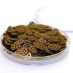 Lovertjes in rond doosje, rond, brons, 7 mm (5 gram)