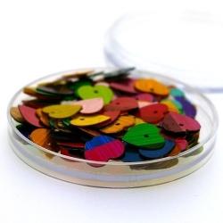 Lovertjes in rond doosje, hartje, mix, 10 mm (6 gram)