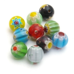 Glaskraal, rond, millifiori, diverse kleuren, 10 mm (10 st.)