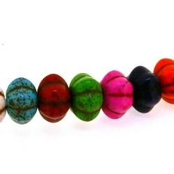Gekleurd Turquoise kraal, pompoen, mix, 7 x 11 mm (ca. 53 st.)