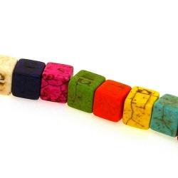 Gekleurd Turquoise kraal, blokje, mix, 8 x 8 mm (ca. 51 st.)