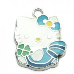 Metaal, bedel, Hello Kitty, klavertje-4, blauw, 23 mm (1 st.)
