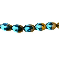 Glas kraal duo tone folie brok blauw/goud 12 x 8 mm (streng)