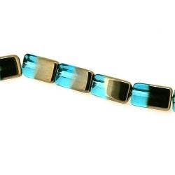 Glas kraal duo tone folie driehoek blauw/zilver 15 x 9 mm (streng)