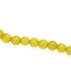 Catseye kraal rond lichtgroen 4 mm (streng)