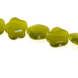 Catseye kraal bloem groen 10 mm (streng)