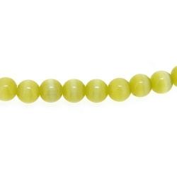 Catseye kraal rond olijfgroen 4 mm (streng)