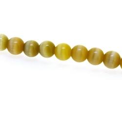 Catseye kraal rond olijfgroen 6 mm (streng)