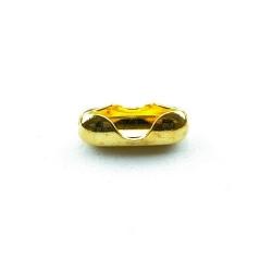 Ballchain slotje, goudkleurig, tbv 3 mm ballchain, 10 x 4 mm (10 st.)