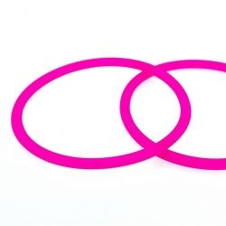 Siliconen armbandje, 4 mm, neonroze (1 st.)