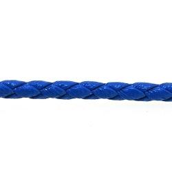 Rond gevlochten kunstleer, blauw, 2 mm (1 mtr.)