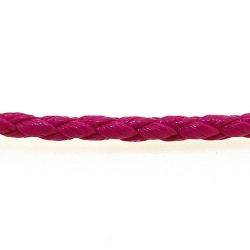 Rond gevlochten kunstleer, roze, 2 mm (1 mtr.)