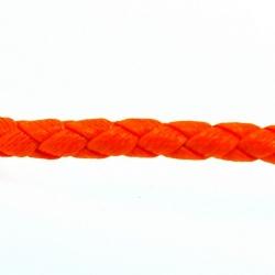 Rond gevlochten kunstleer, neon oranje, 4 mm (1 mtr.)