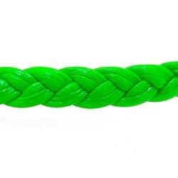 Gevlochten kunstleer, plat, neongroen, 6 mm (1 mtr.)