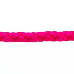 Rond gevlochten kunstleer, neonroze, 4 mm (1 mtr.)