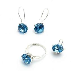 Ketting, oorbellen en ring (maat 20), blauw (1 st.)