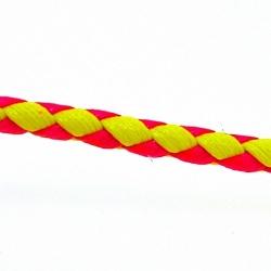 Gevlochten kunstleer, plat, neongeel/neon oranje/neonroze, 6 mm (1 mtr.)