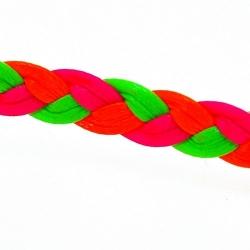 Gevlochten kunstleer, plat, neongroen/neon oranje/neonroze, 6 mm (1 mtr.)
