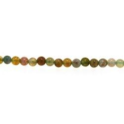 Halfedelsteen kraal rond groen/bruin gemeleerd 3 mm (streng)