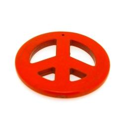 Gekleurd Turquoise, hanger, Peace teken, oranje, 54 mm (1 st.)