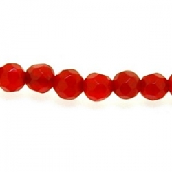 Dyed Jade, kraal, rond, facet, ruby, 4 mm (streng)