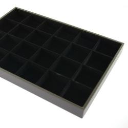Vakjesdisplay, open, 24 vakjes, PU leer, zwart, velours binnenkant (1 st.)