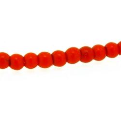 Gekleurd Turquoise kraal, rond, oranje, 3 mm (streng)