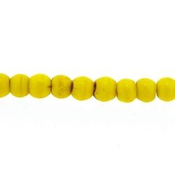 Gekleurd Turquoise, kraal, rond, geel, 3 mm (streng)