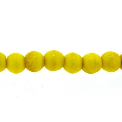 Gekleurd Turquoise, kraal, rond, geel, 4 mm (streng)
