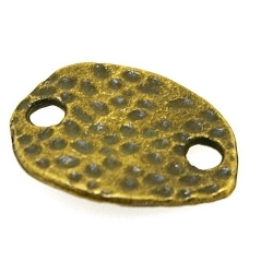 Metaal, tussenstuk met twee rijggaatjes, antique goud, 20 x 16 mm (5 st.)