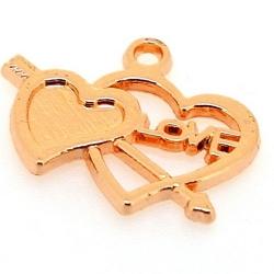 Metaal, hanger, hart met pijl, 'LOVE', roségoud, 18 x 22 mm (5 st.)