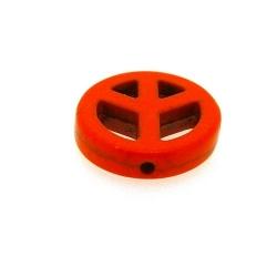 Gekleurd Turquoise, hanger, Peace teken, oranje, 24 mm (3 st.)