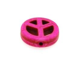Gekleurd Turquoise, hanger, Peace teken, roze, 24 mm (3 st.)