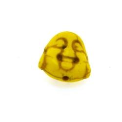 Gekleurd Turquoise, kraal, boedha, dubbelzijdig gezicht, geel, 15 mm (5 st.)