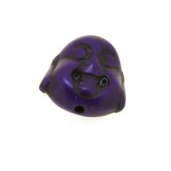 Gekleurd Turquoise kraal, boedha, dubbelzijdig gezicht, paars, 15 mm (5 st.)
