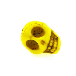 Gekleurd Turquoise, kraal, skull, geel, 14 mm (3 st.)
